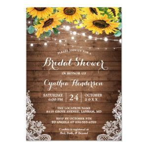 Rustic Sunflowers String Lights Lace Bridal Shower Invitation starting at 2.00