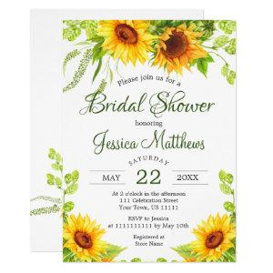 Rustic Sunflowers Watercolor Bridal Shower Invitation starting at 2.10