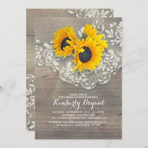 Rustic Sunflowers Wood Lace Bridal Shower Invitation starting at 2.25
