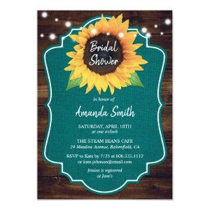 Rustic Teal Sunflower Bridal Shower Invitations starting at 2.51
