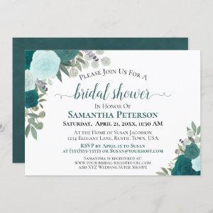 Rustic Teal Watercolor Floral Chic Bridal Shower Invitation starting at 2.35