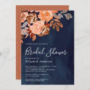 Rustic Terracotta Floral Navy Blue Bridal Shower starting at 2.66
