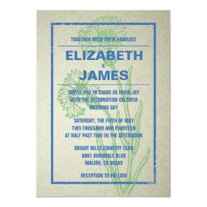 Rustic Vintage Blue And Green Wedding Invitations starting at 2.66