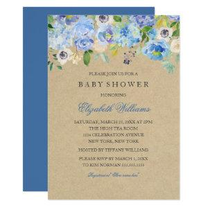 Rustic Vintage Blue Floral  Boy Baby Shower Invite starting at 2.55