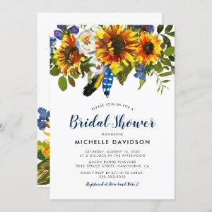 Rustic Watercolor Navy Sunflower Bridal Shower Invitation starting at 2.40