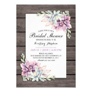 Rustic Watercolor Succulent Floral Bridal Shower Invitation starting at 2.40