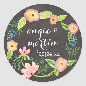 Rustic Whimsical Granny Chic Hipster Chalkboard Classic Round Sticker starting at 6.95