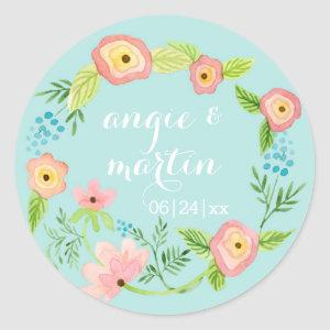 Rustic Whimsical Granny Chic Hipster Floral Bridal Classic Round Sticker starting at 6.95
