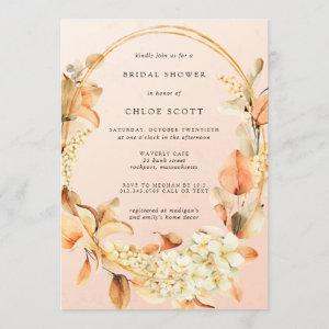 Rustic White Floral and Fall Leaves Bridal Shower Invitation starting at 2.40