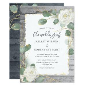 Rustic White Rose Gold Floral Greenery Wedding Invitation starting at 2.82