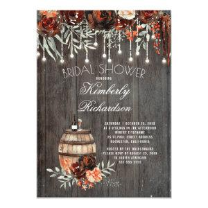 Rustic Winery Floral Lights Burgundy Bridal Shower Invitation starting at 2.40