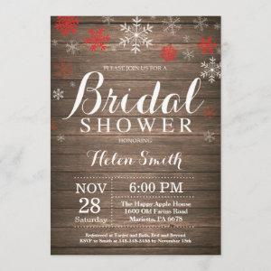 Rustic Winter Bridal Shower Red Snowflake Invitation starting at 2.35