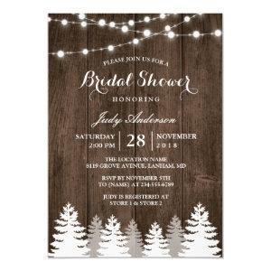 Rustic Winter Bridal Shower String Light Pine Tree Invitation starting at 2.40