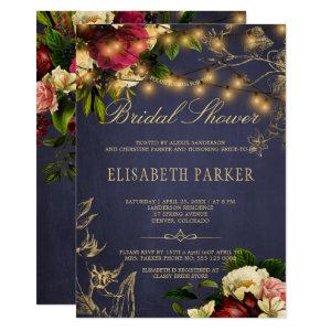 Rustic winter floral navy burgundy bridal shower invitation starting at 2.45