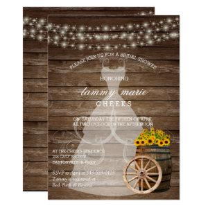 Rustic Wood Barrel Bridal Shower with Sunflowers Invitation starting at 2.40
