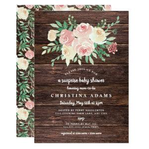Rustic Wood Blush Floral surprise baby shower Invitation starting at 2.51