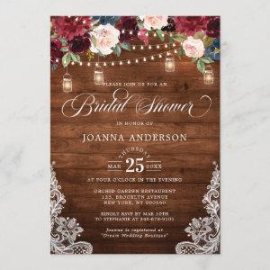 Rustic Wood Floral Mason Jar Bridal Shower Invitation starting at 2.40