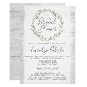Rustic Wood Green Wreath Bridal Shower Invitation starting at 2.40