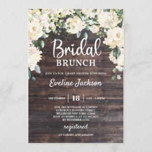 Rustic wood greenery white roses bridal brunch invitation starting at 2.40