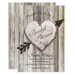Rustic Wood Heart Bridal Shower Invitation starting at 2.51