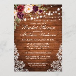 Rustic Wood Lights Floral Lace Bridal Shower Invitation starting at 2.51