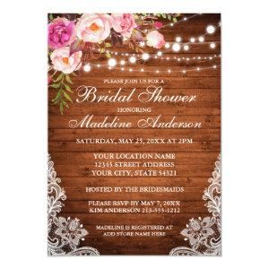 Rustic Wood Lights Lace Floral Bridal Shower Invitation starting at 2.51