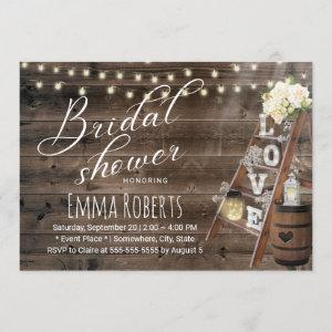 Rustic Wood Love Ladder Wine Barrel Bridal Shower Invitation starting at 2.40