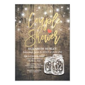 Rustic Wood Mason Jar String Lights Couple Shower Invitation starting at 2.40
