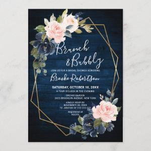 Rustic Wood Navy Blush Geometric Brunch And Bubbly Invitation starting at 2.25