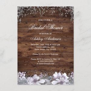 Rustic Wood Purple Floral Bridal Shower Invite starting at 2.10