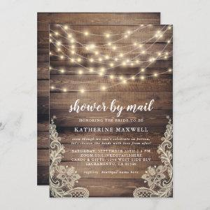 Rustic Wood & String Lights Bridal Shower By Mail Invitation starting at 2.45