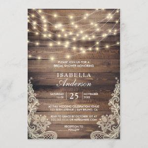Rustic Wood & String Lights | Lace Bridal Shower Invitation starting at 2.45