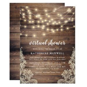 Rustic Wood, String Lights & Lace Virtual Shower Invitation starting at 2.45