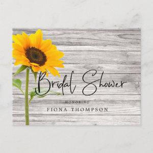 Rustic Wood Sunflower Calligraphy Bridal Shower Invitation Postcard starting at 1.70