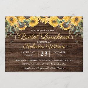 Rustic Wood Sunflower Country Barn Bridal Luncheon Invitation starting at 2.50