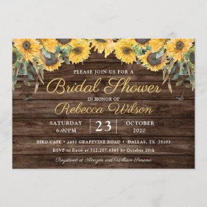 Rustic Wood Sunflower Country Barn Bridal Shower Invitation starting at 2.50