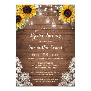 Rustic Wood Sunflower String Light Lace Mason Jars Invitation starting at 2.40