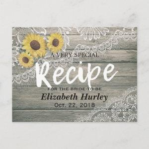Rustic Wood Sunflowers Lace Bridal Shower Recipe Invitation Postcard starting at 1.70