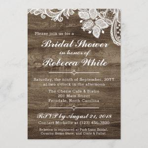 Rustic Wood & Vintage Lace Bridal Shower Invite starting at 2.40