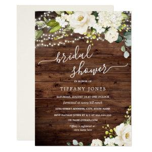 Rustic Wood White Floral Lights Bridal Shower Invitation starting at 2.40
