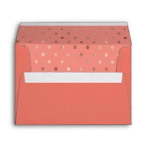 Salmon Colored Rose Gold Polka Dots Lined Envelope starting at 0.85