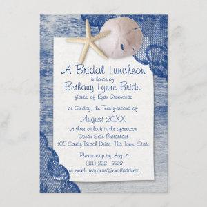 Sand Dollar and Lace Blue Bridal Shower Invitation starting at 3.00