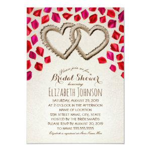 Sand Hearts Rose Petal Beach Themed Bridal Shower Invitation starting at 2.35