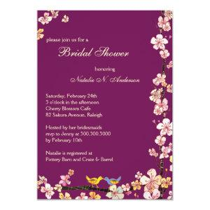 Sangria Love Birds Floral Bridal Shower Invitation starting at 2.66