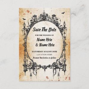 Save The Date Gothic Frame Halloween Rustic Card starting at 2.31