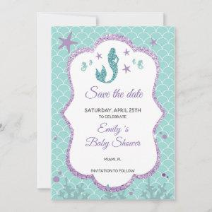 Save The Date Mermaid Glitter Purple Teal starting at 2.51
