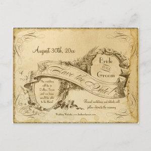 Save the Date - Tea Stained Vintage Wedding 1 Announcement Postcard starting at 1.91