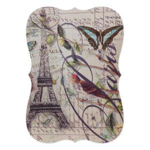 Script French country butterfly Paris Eiffel Tower Invitation starting at 3.02