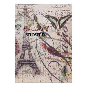 Script French country butterfly Paris Eiffel Tower Invitation starting at 2.42