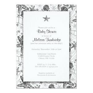 Sea Shells Starfish silhouette Baby Shower Invites starting at 2.51
